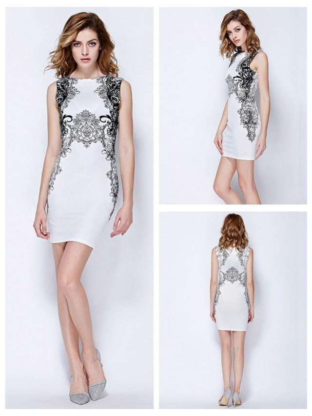 wedding photo - Elegant Print Sleeveless Plain Work Dress