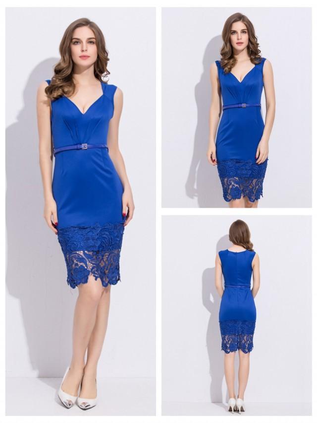 wedding photo - V-neck Sleeveless Casual Blue Dress