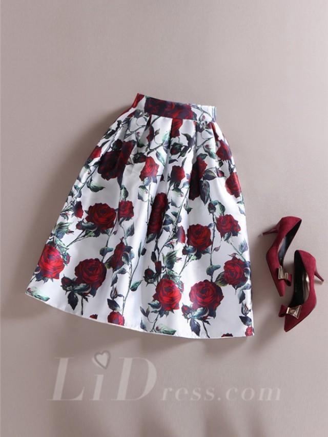 wedding photo - White Women Modern Design Colorful Print Skirt Lid1605121024