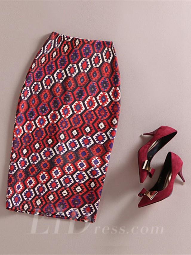 wedding photo - Red Women Modern Design Colorful Print Skirt Lid1605121023