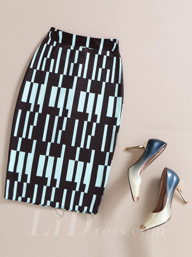 wedding photo - Black Women Modern Design Colorful Print Skirt Lid1605121022