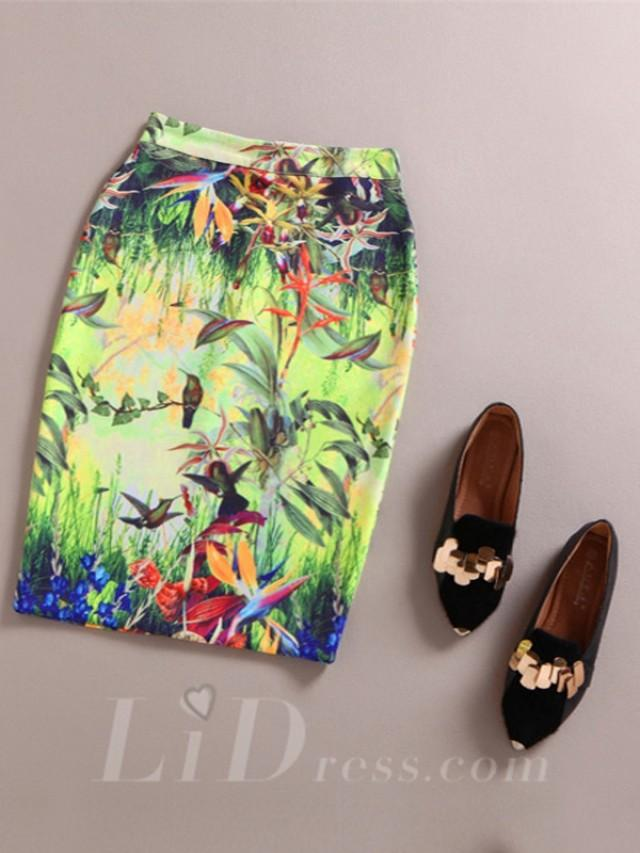 wedding photo - Green Women Modern Design Colorful Print Skirt Lid1605121018