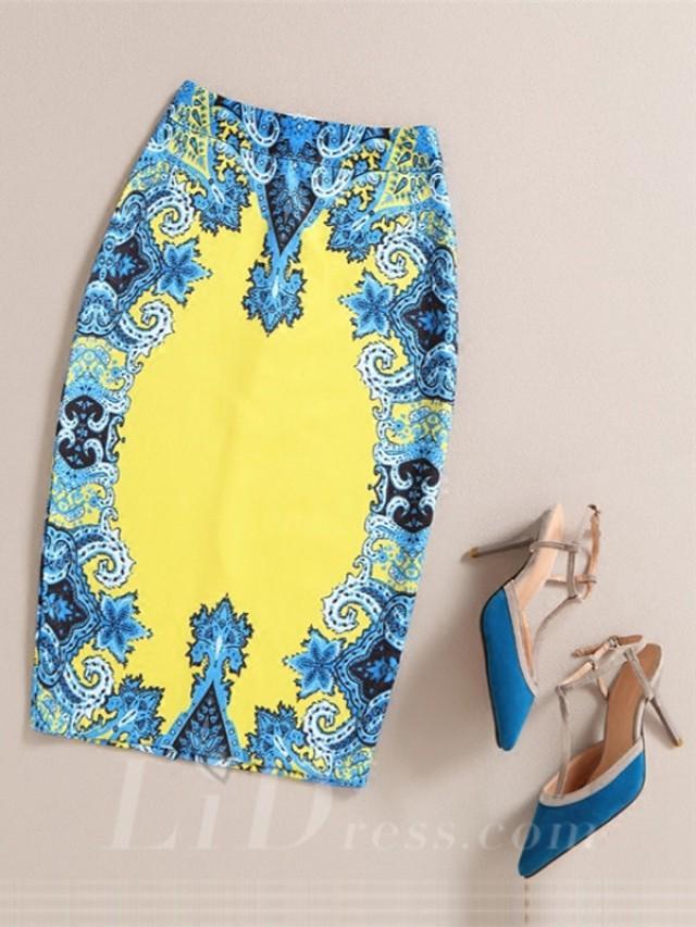 wedding photo - Blue Women Modern Design Colorful Print Skirt Lid1605121016