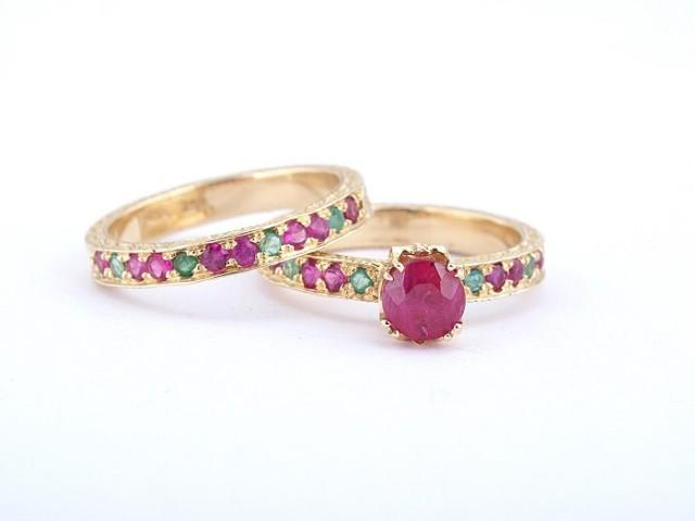 18k gold ruby ring ruby wedding set emerald and ruby