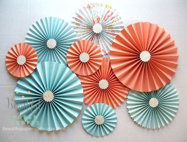 9 Pc Aqua Light Coral Silver Rosettes Paper Fans Peach