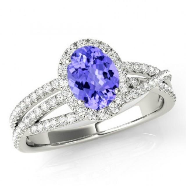 8x6mm oval tanzanite diamond multi row engagement ring 14k white gold tanzanite rings. Black Bedroom Furniture Sets. Home Design Ideas