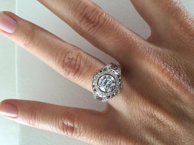 antique style engagement ring setting 14k filigree wedding ring vintage halo engagement ring cubic zirconia round center stone 2531027 weddbook - Wedding Ring Settings