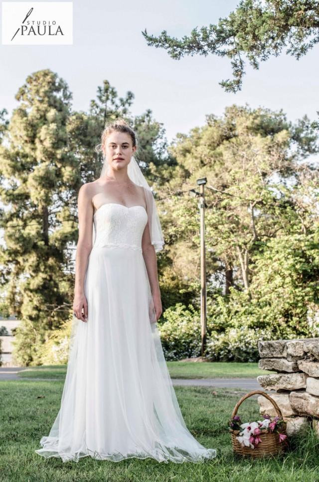Strapless Tulle Wedding Dress Vintage Wedding Dress Boho ...