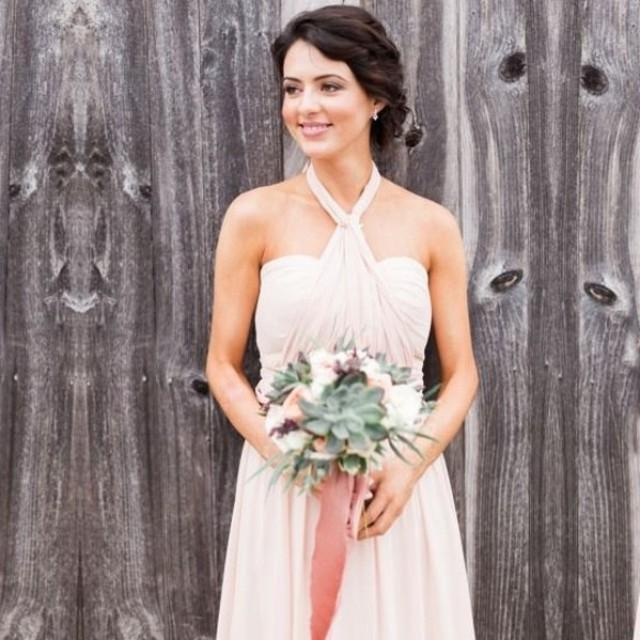 wedding photo - Elegant Floor Length Halter Bridesmaid Dresses with Bowknot