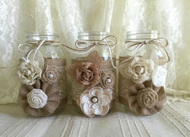 wedding photo - 3 burlap and lace mason jar vases, wedding, bridal shower, baby shower