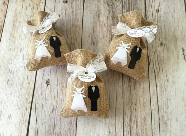 wedding photo - 10 wedding bride and groom burlap rustic favor bags.