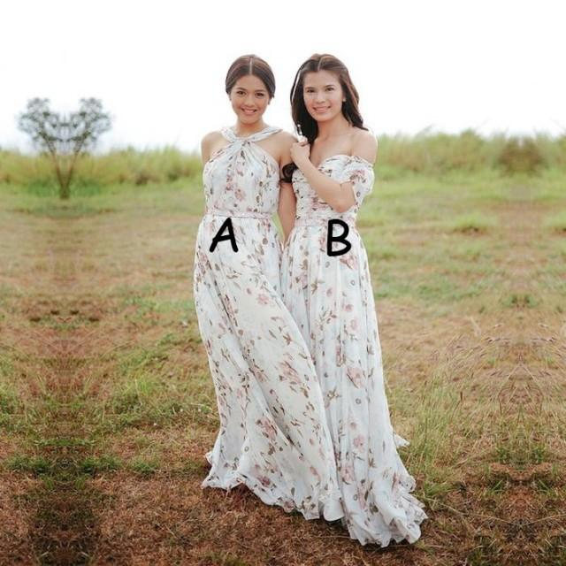 wedding photo - Elegant Off-the-Shoulder Floral Bridesmaid Dresses/Wedding Party -Two Styles