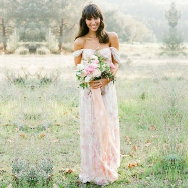 wedding photo - Sexy Long Off-the-Shoulder Print Floral Bridesmaid Dresses/Wedding Party