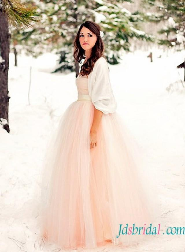 H1581 lovely simple blush pink color tulle strapless for Simple pink wedding dress