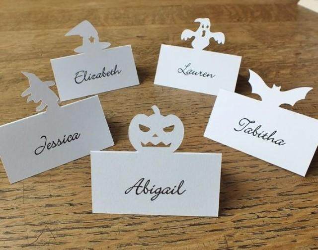 Personalised bat place cards personalized halloween place for Table place cards