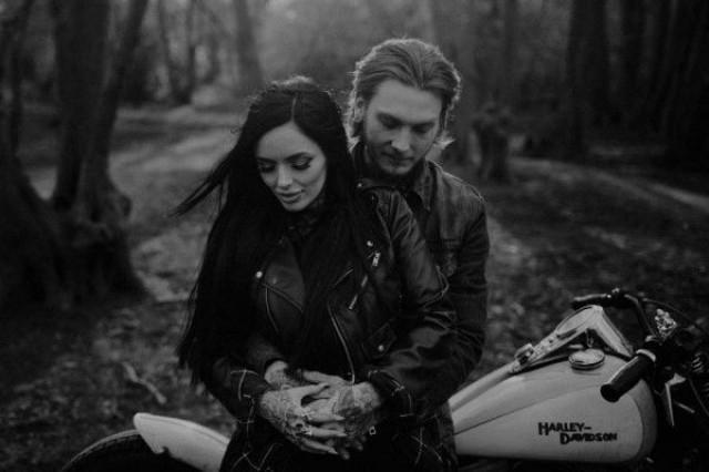 wedding photo - Sexy Harley Davidson Engagement Photos In Ruislip Woods