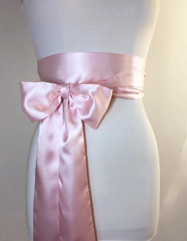 Blush pink sash blush satin sash belt obi belt light for Satin belt for wedding dress
