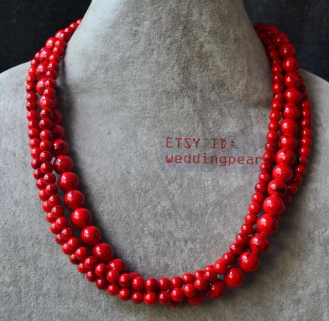 Red Turquoise Necklace Triple Strand 18 Inch 6 10mm Red