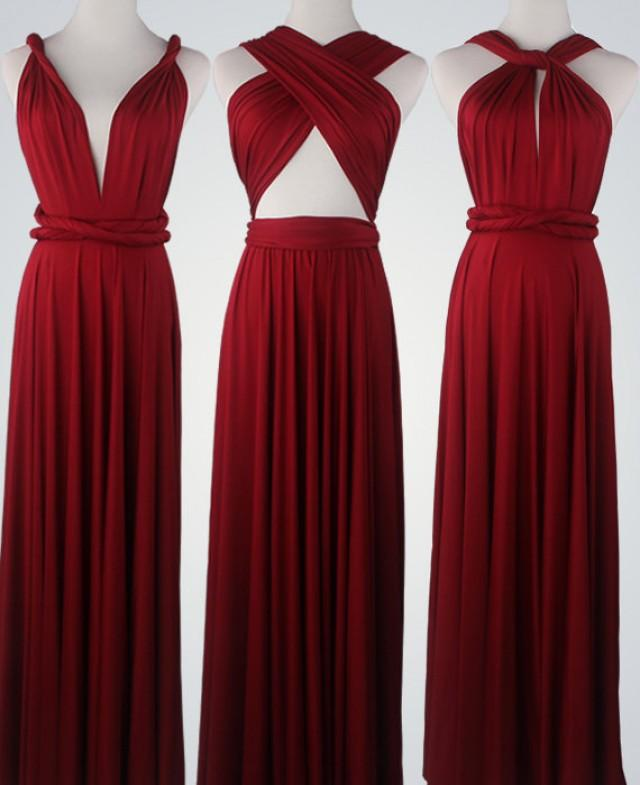 Wine Red Bridesmaid Dress Infinity Dress Convertible Dress