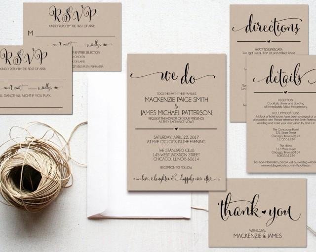 Cheap Rustic Wedding Invitations: We Do Wedding Invitation Template, Rustic Kraft Invitation