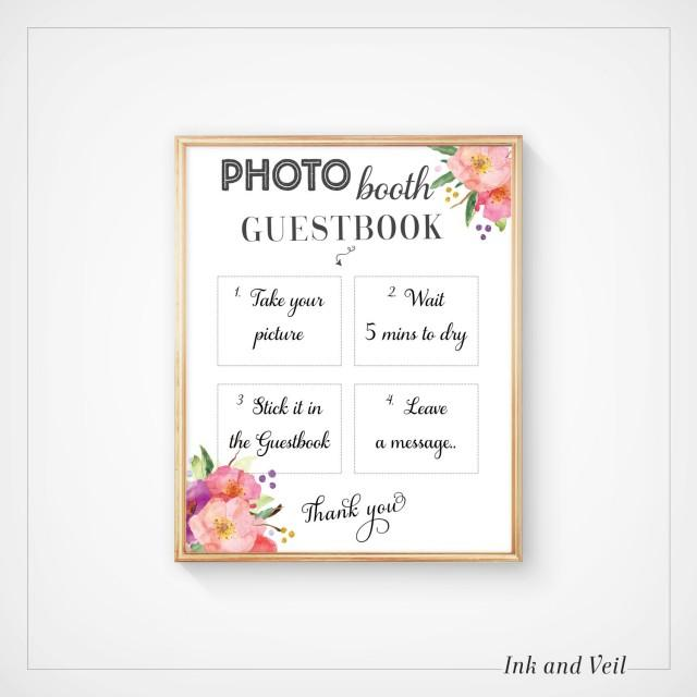 Photo booth guestbook sign wedding guest book photo sign for Photo wedding guest book
