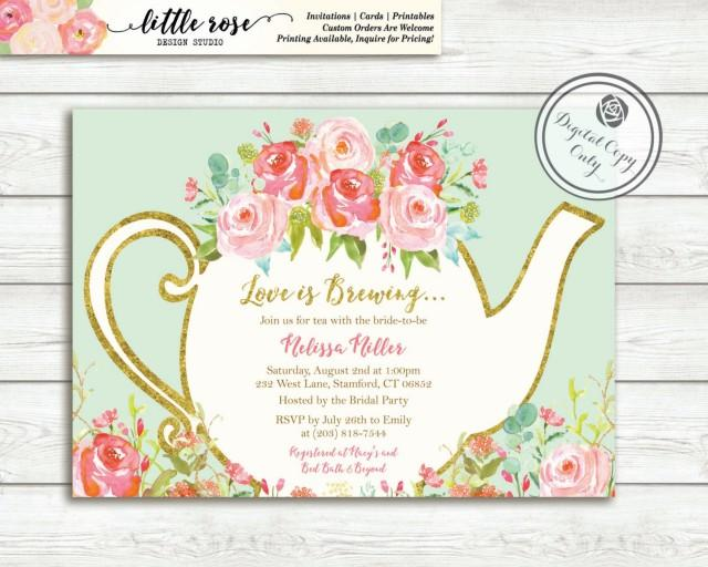 tea party menu template - love is brewing bridal shower invitation garden tea