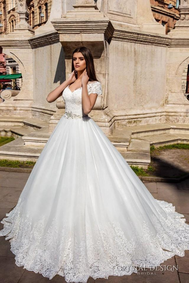 New arrival illusion lace cap sleeve crystal design 2016 v for How much are crystal design wedding dresses