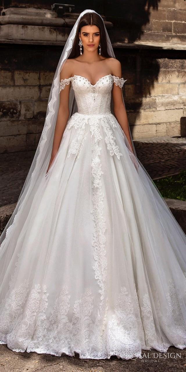 Design Wedding Dress Online Of New Arrival Off The Shoulder Lace Straps Crystal Design
