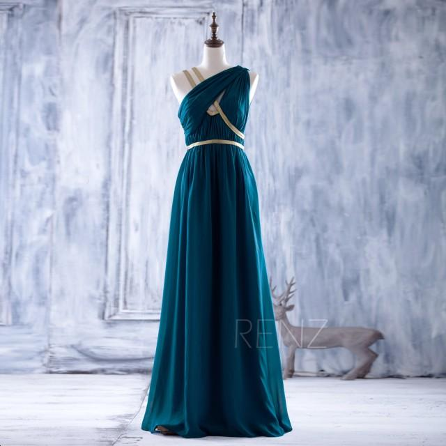 2016 peacock bridesmaid dress with gold belt long chiffon for Gold belt for wedding dress