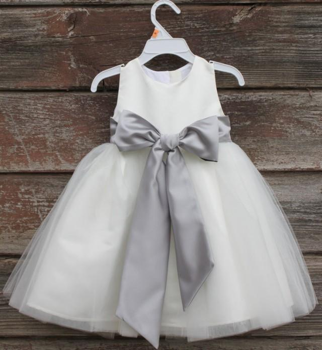 Ivory flower girl dress bow sash pageant silver wedding for Ivory and silver wedding dress