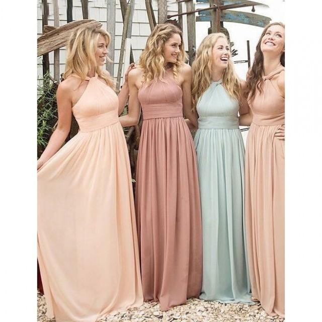 wedding photo - New Arrival Floor Length Halter Bridesmaid Dresses/Wedding Party