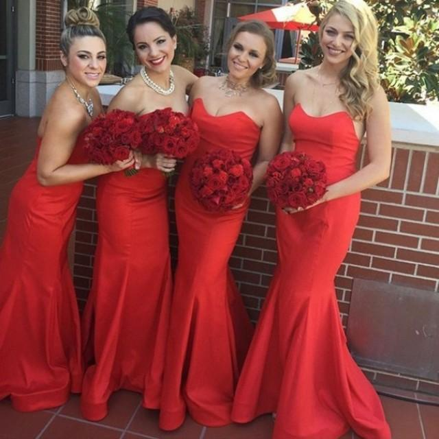 wedding photo - New Arrival :Long Mermaid Bridesmaid Dresses Wedding Party Gown