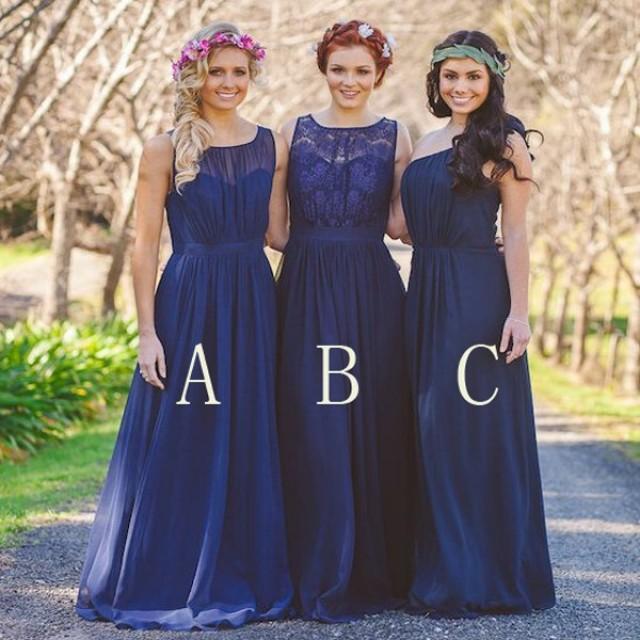 wedding photo - Beautiful Royal Blue Floor Length Bridesmaid Dresses Wedding Party
