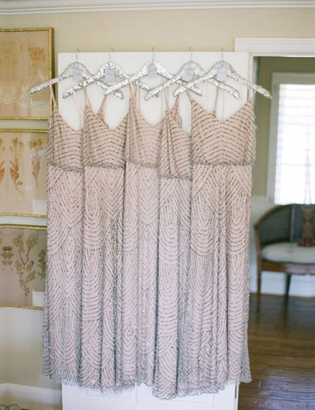 wedding photo - Modern Spaghetti Straps A-line Long Sequins Bridesmaid Dress