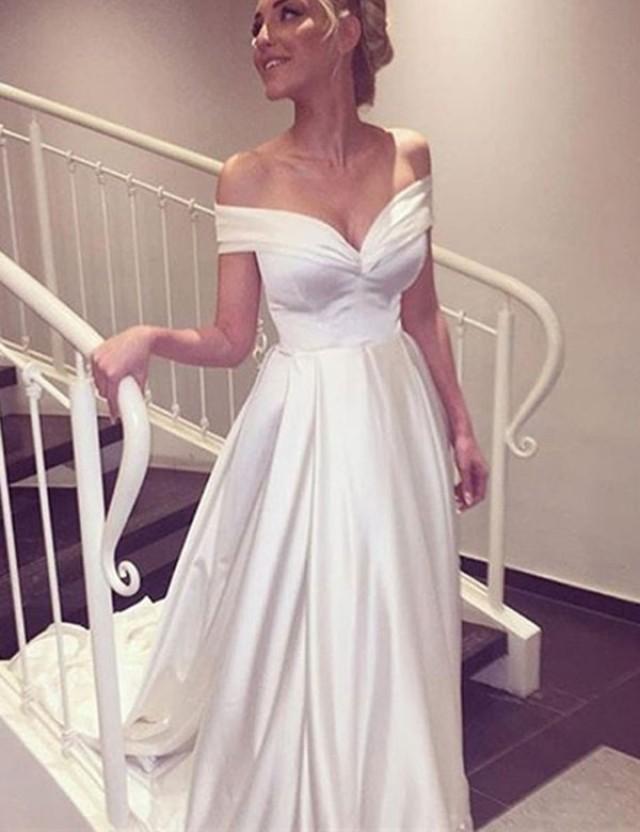 wedding photo - Elegant V-neck Cap Sleeves A-line Satin Wedding Dress Bride Gown