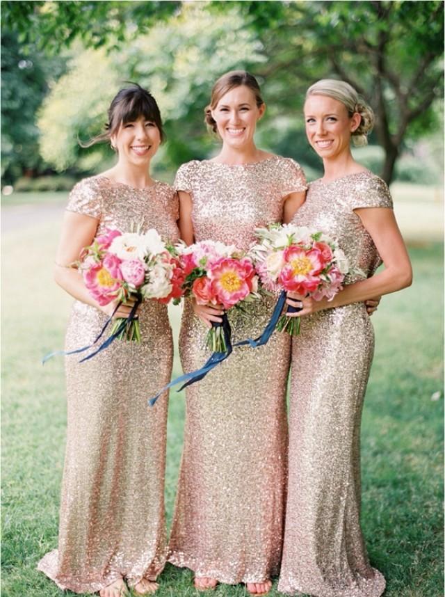 wedding photo - Fashion Scoop Cap Sleeves Gold Sequins Open Back Long Mermaid Bridesmaid Dresses
