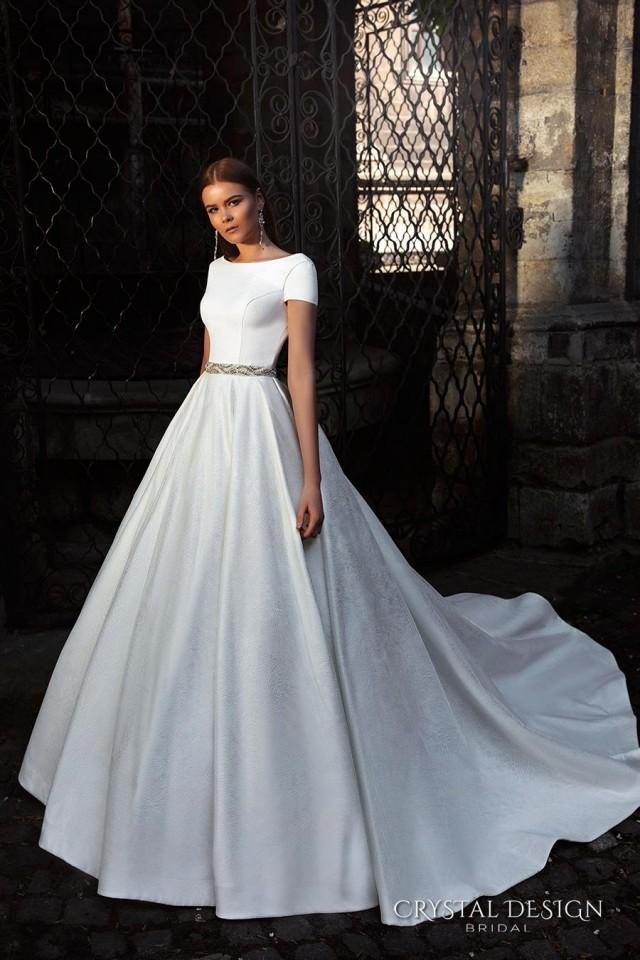 Ball Gown Wedding Dresses With Short Sleeves : New arrival short sleeve backless crystal design