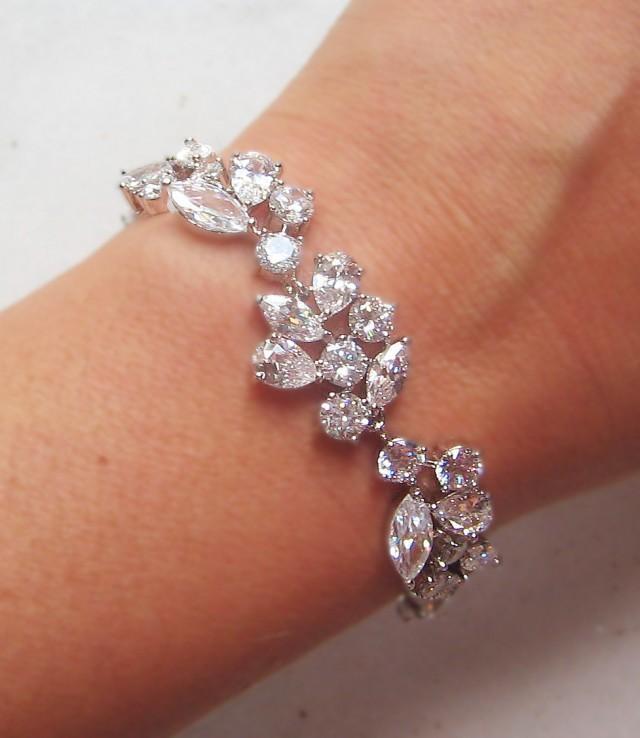 swarovski crystal bracelet cubic zirconia wedding bracelet silver or gold crystal wedding. Black Bedroom Furniture Sets. Home Design Ideas