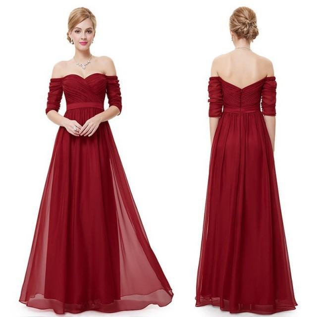 wedding photo - Elegant Off-the-Shoulder Bridesmaid Dresses/Prom Dresses with Half Sleeves