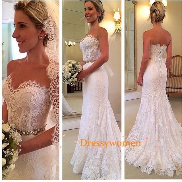 wedding photo - A-line Sweetheart Elegant Style Vintage Lace Wedding Dresses with Beading