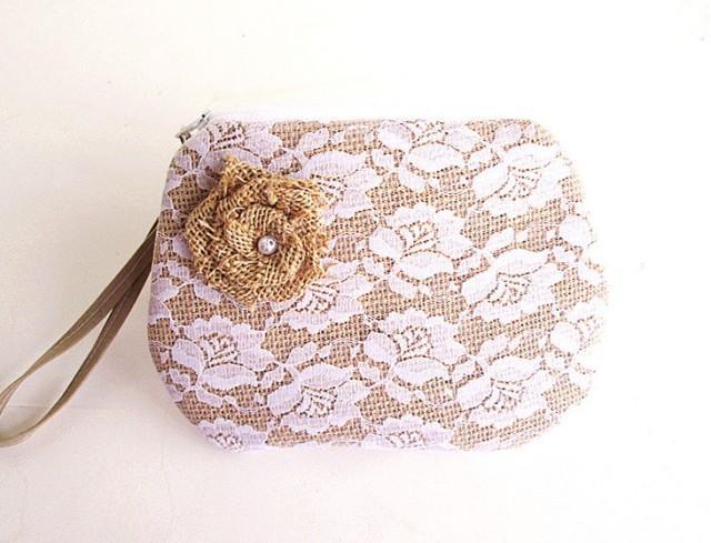 Burlap Wristlet Burlap Clutch Purse Bridal Clutch Bridesmaid Clutch- Flower Lace . #2535365 ...