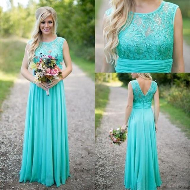 wedding photo - Classic Floor Length Mint Green Bridesmaid Dresses with Lace Sequins