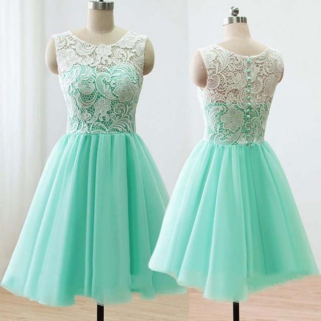 wedding photo - Modern Scoop A-line Short Mint Bridesmaid Dress With Lace