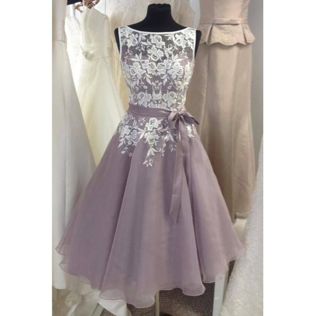 wedding photo - New Arrival Knee Length Lace Bridesmaid Dress with Sash