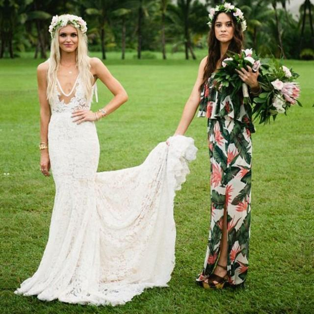 wedding photo - New Arrival Strapless Floral Bridesmaid Dresses with Split Side