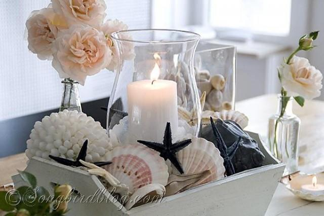 Nautical Table Decoration With Beach Finds Shells Sea Stars And