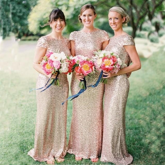 wedding photo - Fashion Scoop Sequined Long Backless Gold Bridesmaid Dress With Short Sleeves