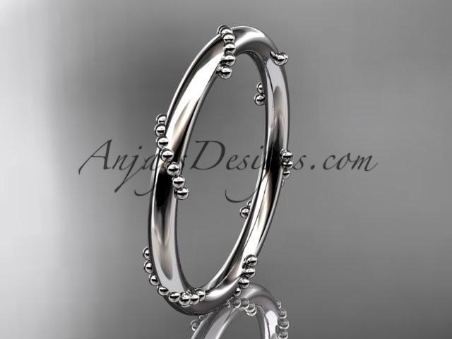 wedding photo - 14k white gold engagement ring, wedding band ADLR502G