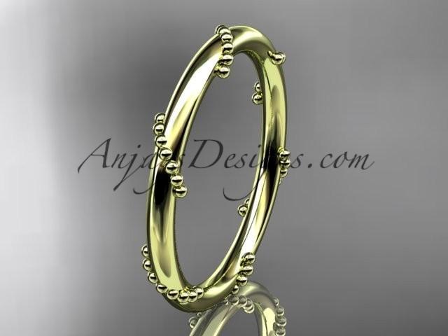 wedding photo - 14k yellow gold engagement ring, wedding band ADLR502G