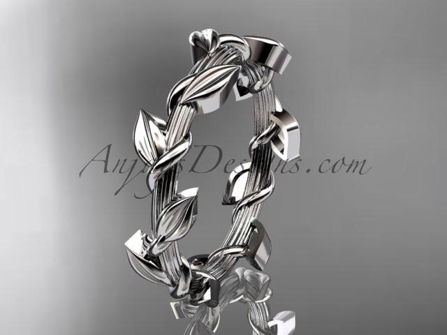 wedding photo - Unique platinum leaf and vine wedding ring ADLR248G